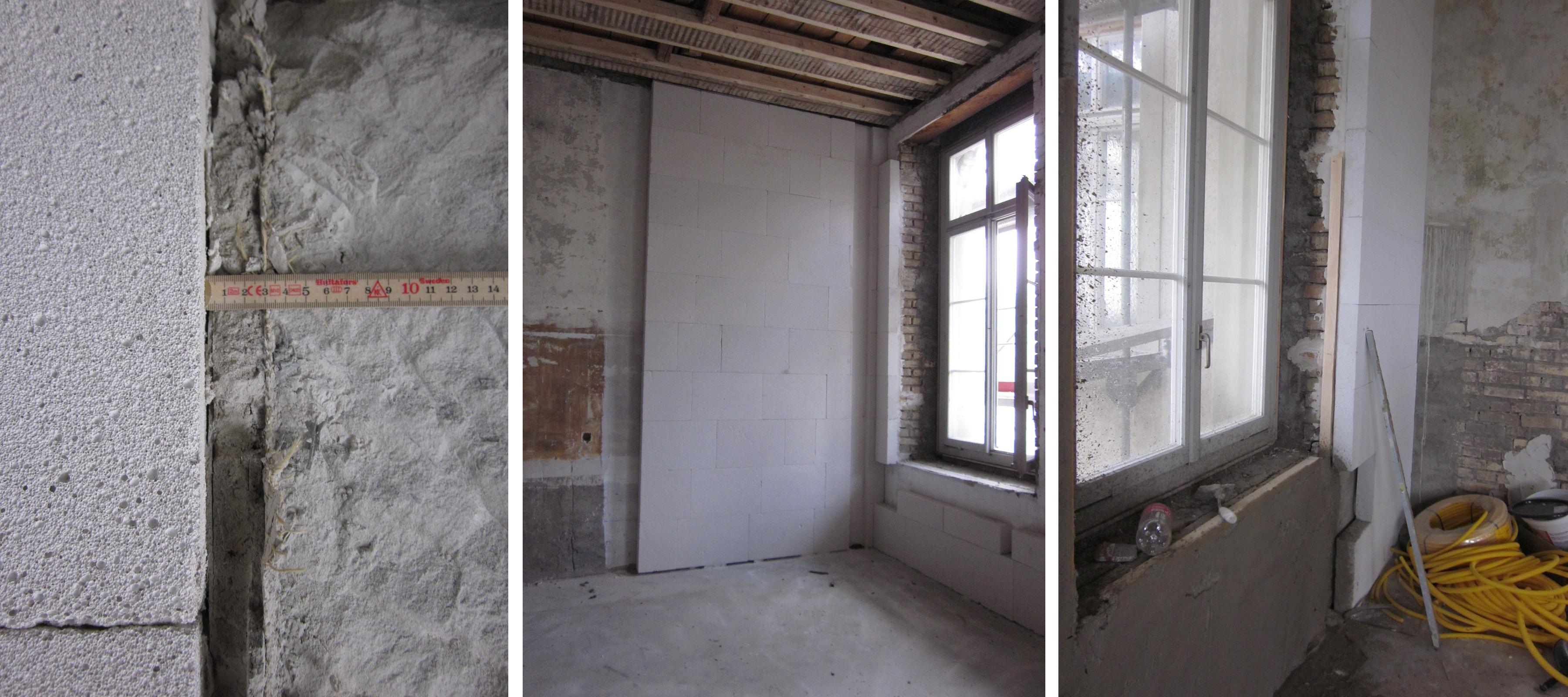 Fotos der Ausführung der Umbaumassnahmen bei den Aussenwänden. Die Anschlüsse der Innendämmschichten beim Fenster (Leibung, Brüstung und Sturz) sind besonders zu beachten