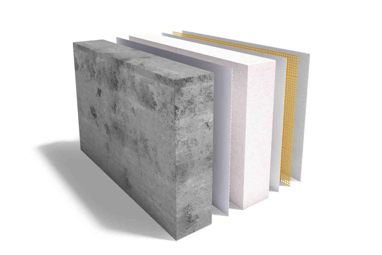 Multipor interior insulation on exposed concrete